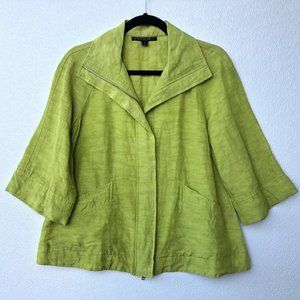 Lafayette 148 Jacket Lime Green Linen Blend Crop